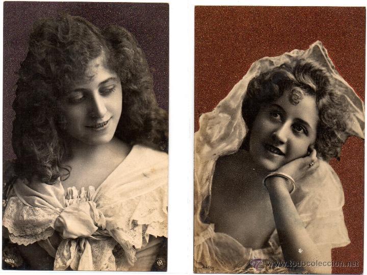 4 POSTALES ROMÁNTICAS, ANTIGUAS (Postales - Postales Temáticas - Galantes y Mujeres)