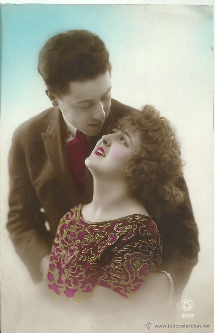 POSTAL FOTOGRAFICA ANTIGUA DE PAREJA - ESCRITA EL 24 - 6 - 1920 (Postales - Postales Temáticas - Galantes y Mujeres)