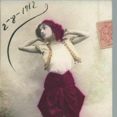 Postales: POSTAL ANTIGUA - DE UNA DAMA - DISFRAZADA - CIRCULADA EL 2 - 8 - 1912. Lote 49596530