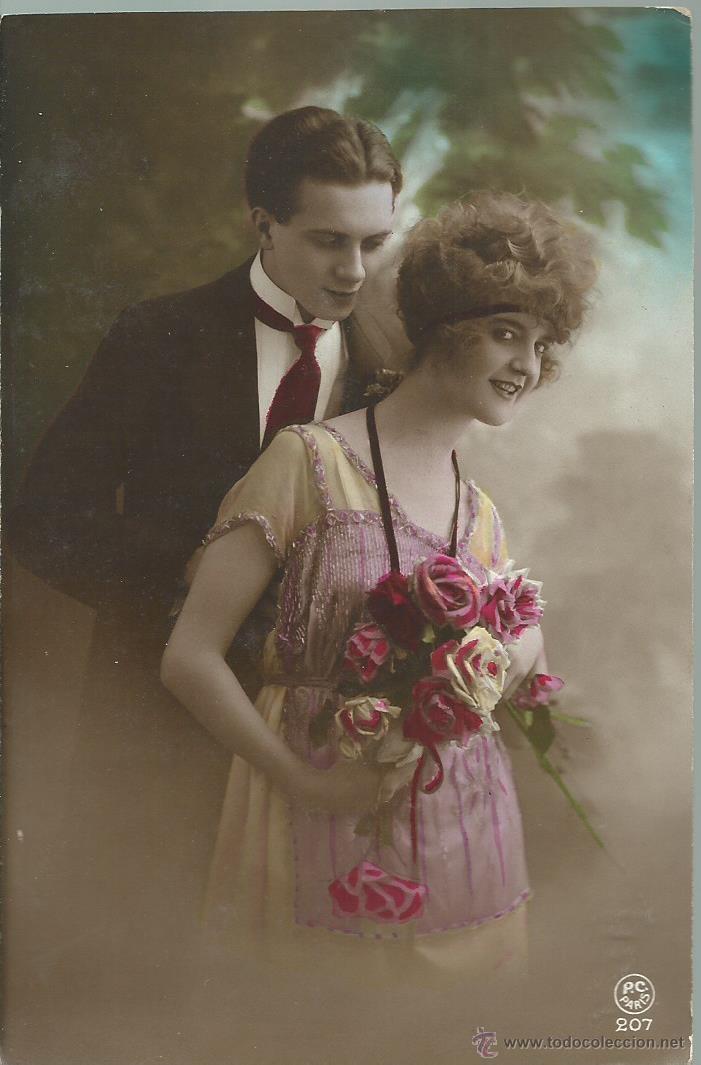 POSTAL - ANTIGUA DE UNA PAREJA ESCRITA EL 24 -6 - 1921 (Postales - Postales Temáticas - Galantes y Mujeres)