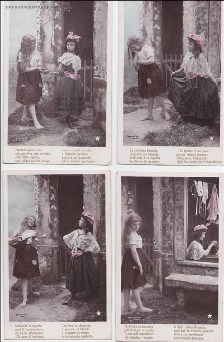 P- 1621. SERIE DE 4 POSTALES NIÑAS COLOREADAS STEBBING PHOT. (Postales - Postales Temáticas - Galantes y Mujeres)