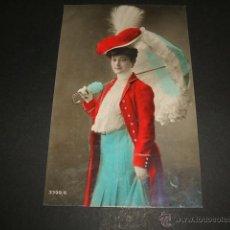 Postales: MUJER CON SOMBRILLA POSTAL HACIA 1907. Lote 50319593