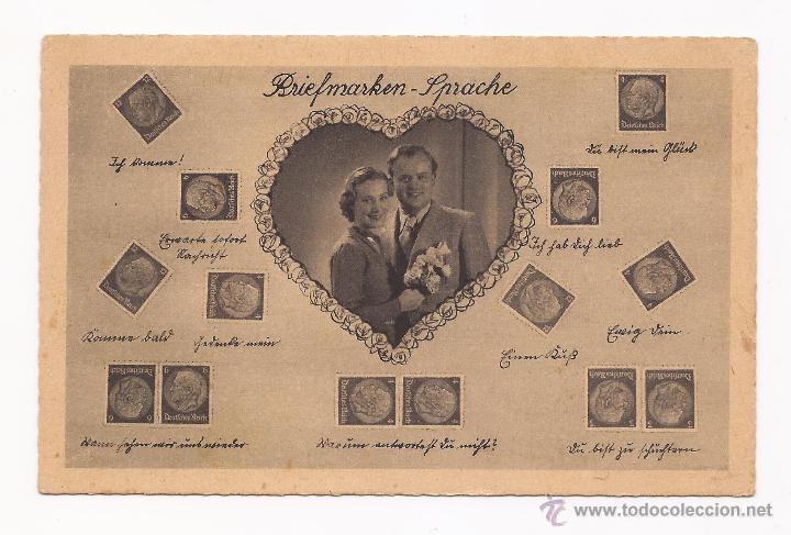 POSTAL BRIEFMARKEN - SPRACHE / DE ALEMANIA / MOTIVO PAREJA Y SELLOS / AÑOS 40 / SIN USAR (Postales - Postales Temáticas - Galantes y Mujeres)