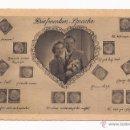 Postales: POSTAL BRIEFMARKEN - SPRACHE / DE ALEMANIA / MOTIVO PAREJA Y SELLOS / AÑOS 40 / SIN USAR. Lote 50773457