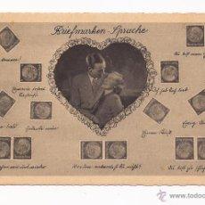 Postales: POSTAL BRIEFMARKEN - SPRACHE / DE ALEMANIA / MOTIVO PAREJA Y SELLOS / AÑOS 40 / SIN USAR. Lote 50773478