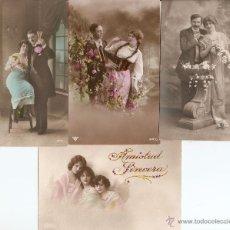 Postales: LOTE 4 POSTALES ROMÁNTICAS CIRCULADAS EN ESPAÑOL A PRINCIPIOS DE SIGLO XX. Lote 51065758