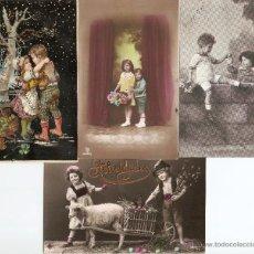 Postales: LOTE 4 POSTALES ROMÁNTICAS DE NIÑOS CIRCULADAS EN ESPAÑOL. Lote 51065918