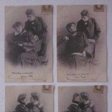 Postales: CUATRO ANTIGUAS POSTALES: SECUENCIA PAREJA - AÑO 1906. Lote 51648700