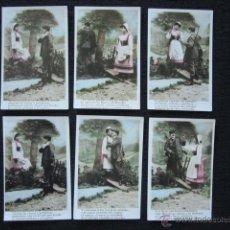 Postales: SERIE DE 6 POSTALES ROMÁNTICAS. CON POESÍA. ORIGINAL DE ÉPOCA. . Lote 51922608