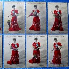 Postales: COLECCIÓN DE 10 POSTALES. LENGUAJE DE LA SOMBRILLA POR LA BELLA ADIANO. FOT. FIALDRO, POST A 1906.. Lote 53683126