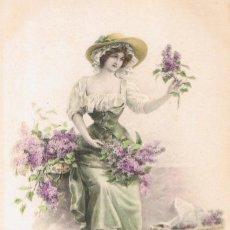 Postales: POSTAL M. MUNK. SEÑORITA CON RAMO DE LILAS. M. M. VIENNE Nº 577. IMPRESA EN AUSTRIA. CIRCULADA 1911. Lote 53957588