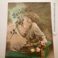 Postales: POSTAL ITALIANA ROMANTICA COLOREADA. ESCRITA 1919.. Lote 54185511
