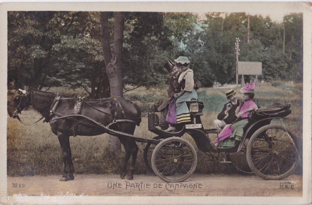Postales: P- 4793. SERIE DE 4 POSTALES. UNE PARTIE DE CAMPAGNE. - Foto 5 - 55308737