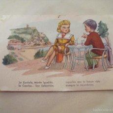 Postales: PAREJA LA ZURRIOLA, IGUELDO LA COCHA SAN SEBASTIAN. Lote 56293226