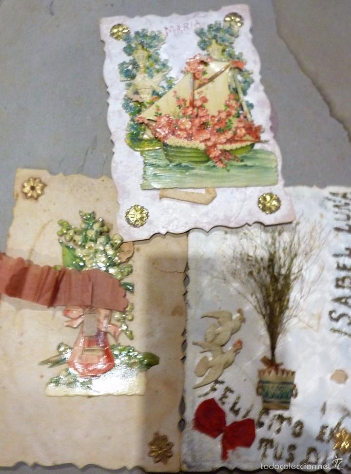 3 ANTIGUA POSTAL ROMANTICA TROQUELADA DESPLEGABLE MOVIL PUNTILLAS CARTON Y PAPEL . SEÑALES USO (Postales - Postales Temáticas - Galantes y Mujeres)