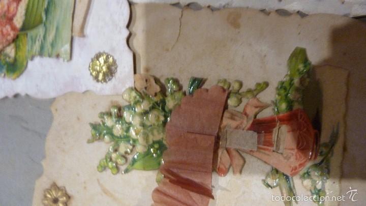 Postales: 3 antigua postal romantica troquelada desplegable movil puntillas carton y papel . señales uso - Foto 2 - 56369021