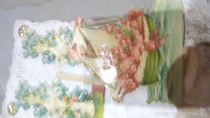 Postales: 3 antigua postal romantica troquelada desplegable movil puntillas carton y papel . señales uso - Foto 3 - 56369021