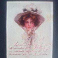 Postales: ANTIGUA POSTAL MUJER CON SOMBRERO - PHILIP BOILEAU - ESCRITA SELLO ALFONSO XIII - AÑO 1909 .. R-2623. Lote 57029077