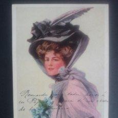 Postales: ANTIGUA POSTAL MUJER CON SOMBRERO - PHILIP BOILEAU - ESCRITA SELLO ALFONSO XIII - AÑO 1909 .. R-2624. Lote 57029181