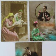 Postales: P-5855. FOTOS COLOREADAS DE PAREJAS AÑOS 20-30. CIRCULADAS LOTE DE 3 POSTALES.. Lote 57523899