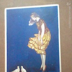 Postales: ILUSTRACION MUJER CON PALOMAS POSTAL ITALIANA ESCRITA TIPO ART DECO . Lote 57676966