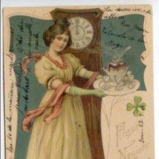 Postales: POSTAL MODERNISTA, ART NOUVEAU, MUJER SIRVIENDO UN CHOCOLATE CALIENTE ? 1904. Lote 58653122