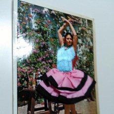 Postales: POSTAL MUJER FLAMENCA. VESTIDO BORDADO Y TELA. CIRCULADA.. Lote 61433123