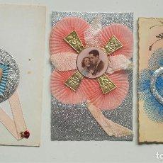Postales: LOTE 3 POSTALES FRANCESAS HECHAS CON RECORTES, TELAS Y PURPURINA SIN CIRCULAR. Lote 64940959