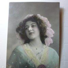 Postales: POSTAL ROMANTICA. RETRATO DE MUJER COLOREADA. CIRCULADA 1914.. Lote 73693235