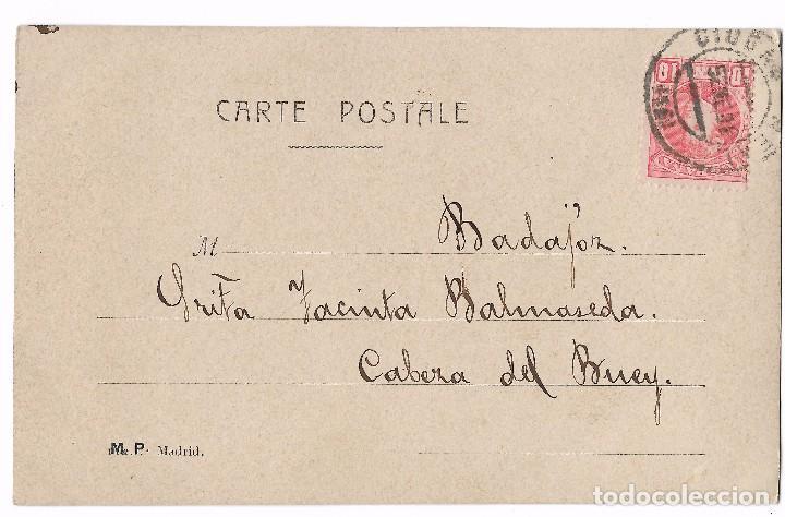 Postales: ANTIGUA POSTAL CIRC. 1904 - M. P. MADRID - MUJER RAMO DE FLORES - MIOSOTIS - NO ME OLVIDES - Foto 2 - 74885807