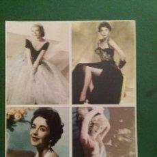 Postales: POSTALES FOTOGRAMAS AVA GARDNER GRACE KELLY VERÓNICA LAKE Y LIZ TAYLOR FELICITACIÓN 1999. Lote 76697375