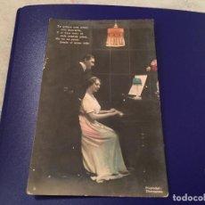 Postales: ANTIQUÍSIMA TARJETA POSTAL COLOREADA- ENAMORADOS -ESCRITA 1914. Lote 77670441