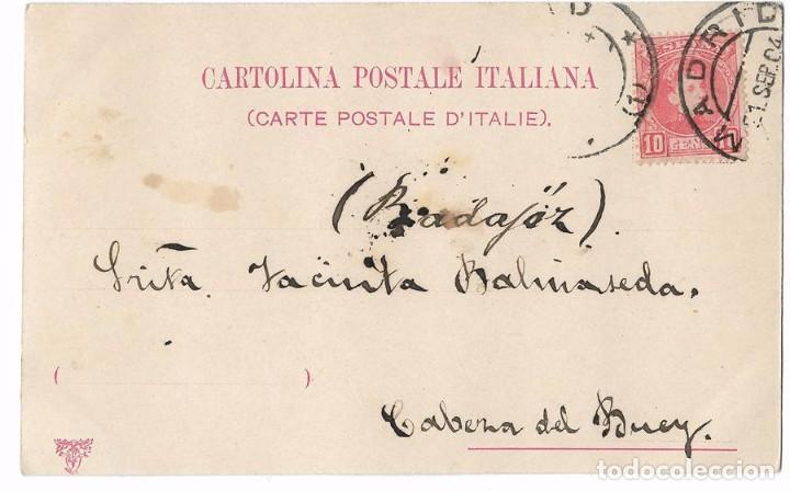 Postales: ANTIGUA POSTAL ITALIANA LF&C - CIRCULADA 1904 - REVERSO SIN DIVIDIR - Foto 2 - 78893409