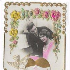 Postales: POSTAL ROMÁNTICA, AMISTAD Y PALOMAS. TROQUELADA 1931 COLOREADA. Lote 82937792