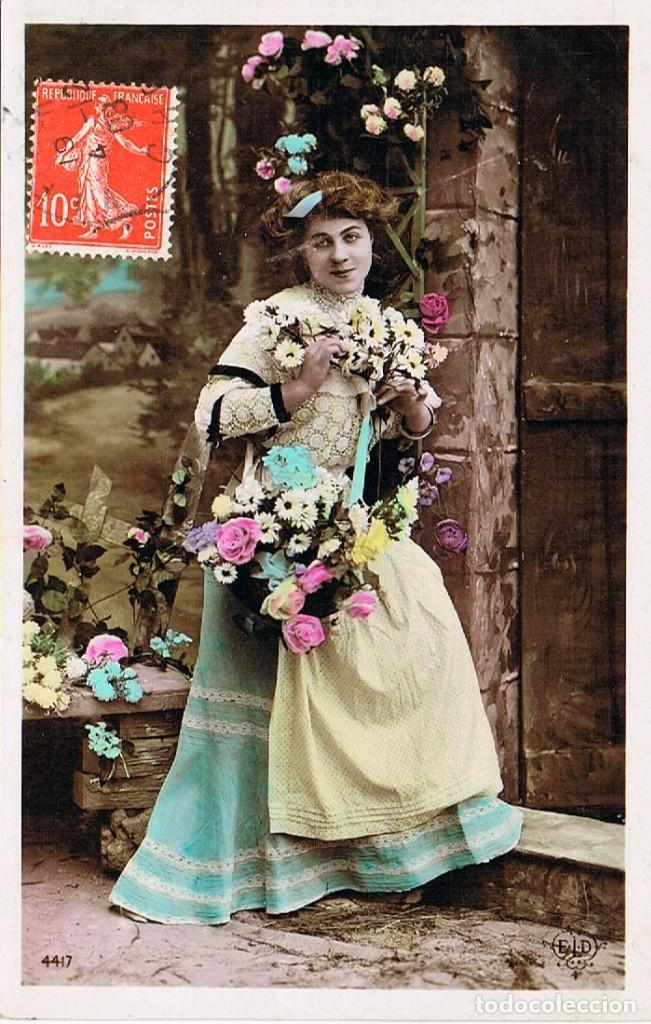 POSTAL ROMÁNTICA CIRCULADA (Postales - Postales Temáticas - Galantes y Mujeres)