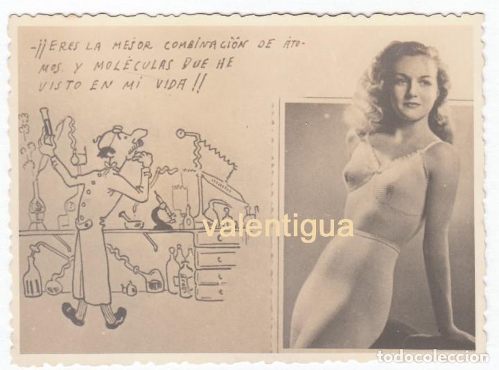 CURIOSA Y HUMORÍSTICA POSTAL, ENSALZADORA DE LA BELLEZA DE LA MUJER DE LOS AÑOS 40. (Postales - Postales Temáticas - Galantes y Mujeres)
