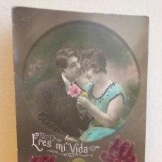 Postales: PAREJA GALANTE. ERES MI VIDA. COLOR 1921. Lote 85434560