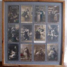 Postales: CUADRO CON BELLAS POSTALES ANTIGUAS 1900 ORIGINALES - COLECCION AMOR ROMANTICAS - MARCO. Lote 91581600