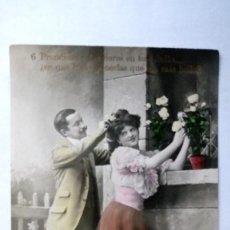Postales: ANTIGUA POSTAL ROMANTICA, PAREJA DE ENAMORADOS, AÑO 1909, COLOREADA. Lote 91826255