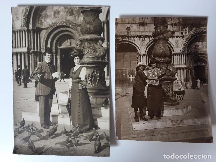 2 FOTOS ANTIGUAS DE VENECIA (SAN MARCO) 1909 (Postales - Postales Temáticas - Galantes y Mujeres)