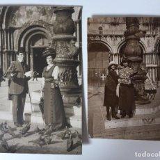 Postales: 2 FOTOS ANTIGUAS DE VENECIA (SAN MARCO) 1909. Lote 95961379