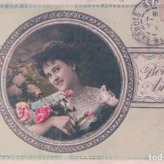 Postales: POSTAL MUJER ROMANTICA CON FLORES - BONNE ANNEE 431 JK - CIRCULADA. Lote 96606323