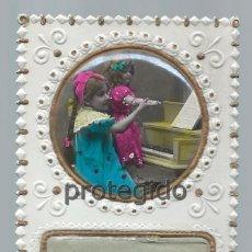 Postales: POSTAL. TROQUELADA. 1922. MI ILUSIÓN. DESPLEGABLE CON MENSAJE DE TELÉGRAFOS. MÁRGARA.. Lote 98761107