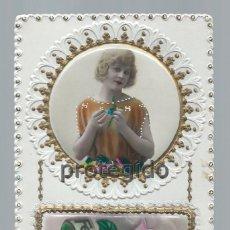 Postales: POSTAL. TROQUELADA. 1922. FELICIDADES. DESPLEGABLE CON MENSAJE DE TELÉGRAFOS. MÁRGARA.. Lote 98774827