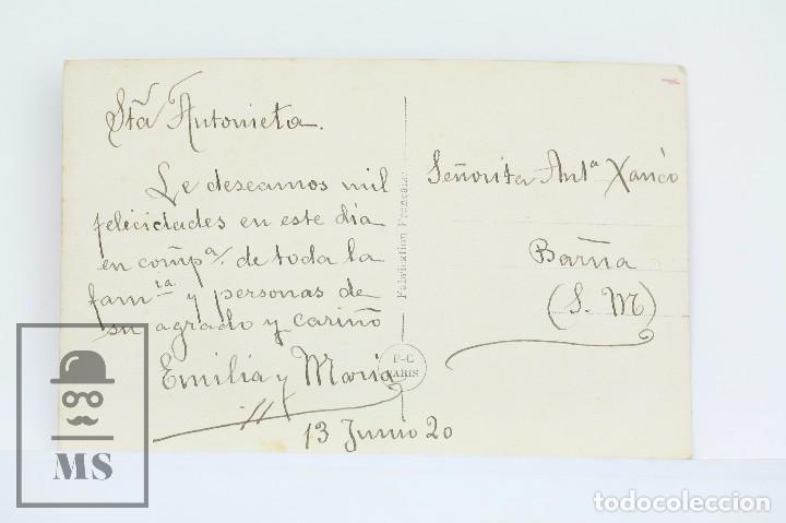Postales: Antigua Postal Fotográfica Romántica - Pareja En Parque - P-C Paris - Escrita al Dorso, Año 1920 - Foto 2 - 98953875