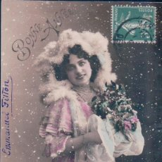 Postales: POSTAL MUJER - AÑO NUEVO - NIEVE - CIRCULADA - ENMANUEL FILTON -2111. Lote 103759267