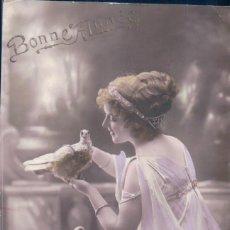 Postales: POSTAL RETRATO MUJER CON PALOMAS Y FLORES - BONNE ANNEE - MYRKA - CIRCULADA. Lote 105830211