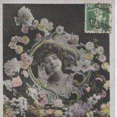 Postales: POSTAL ROMANTICA. MUJER EN EL ESPEJO CON FLORES. Lote 110210847