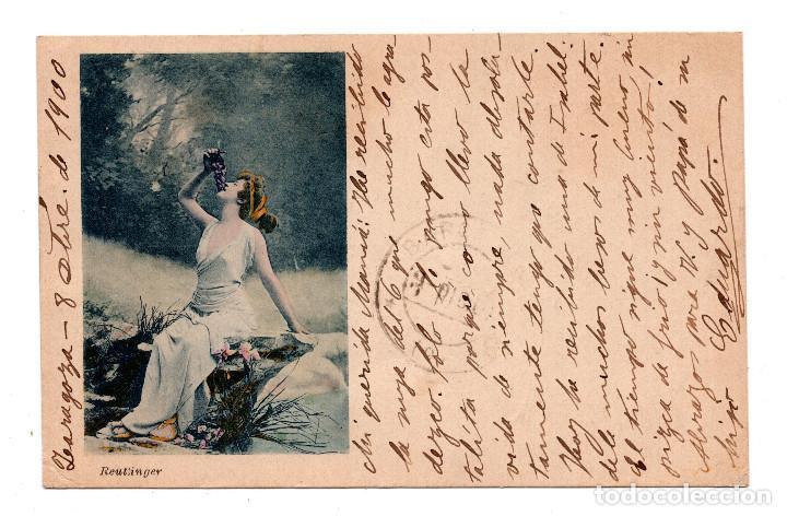 FOTO REUTLINGER. CON SELLO ALFONSO XIII PELON. (Postales - Postales Temáticas - Galantes y Mujeres)