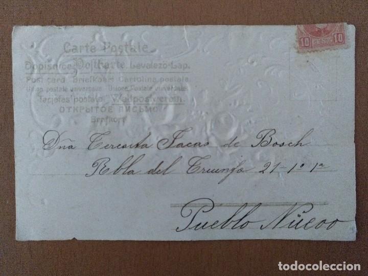 Postales: POSTAL MODERNISTA EN RELIEVE TEMA FLORES CIRCULADA PRINCIPIOS SIGLO XX. - Foto 2 - 113818003
